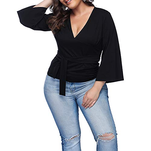 - Vilover Plus Size Women V Neck Tops Short Sleeve Wrap Front T-Shirt Pleated Waist Blouse (Black A#, 3XL)