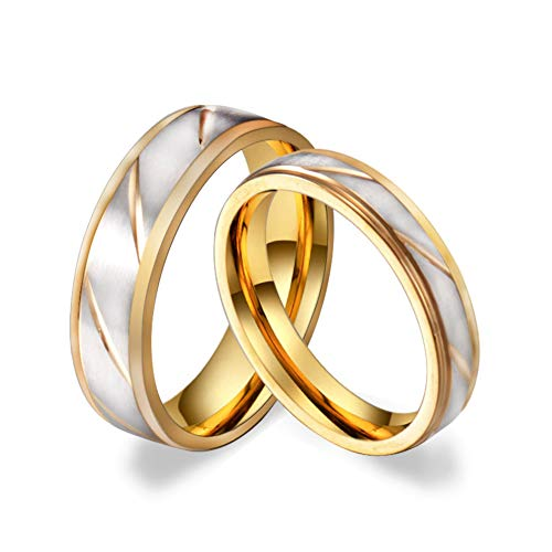 Titanium Wave Ring - Fsmall Titanium Stainless Steel Rings for Lovers Beveled Edges Brushed Matte Polish Finished Wave Cutting Charms Men Gold 6mm Women 4mm (6mm, 8)