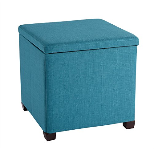 LANGRIA Foldable Storage Ottoman Ottomans Foot Stool Large Footrest Stool Coffee Table Lift Top, Teal (Small Ottoman Wooden)