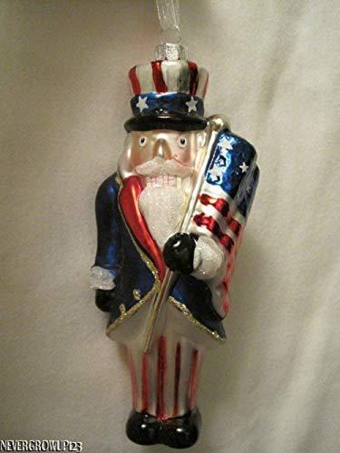 (Unik always Blown Glass Patriotic Nutcracker~Uncle SAM~4TH of July~USA Flag Ornament~NWT)