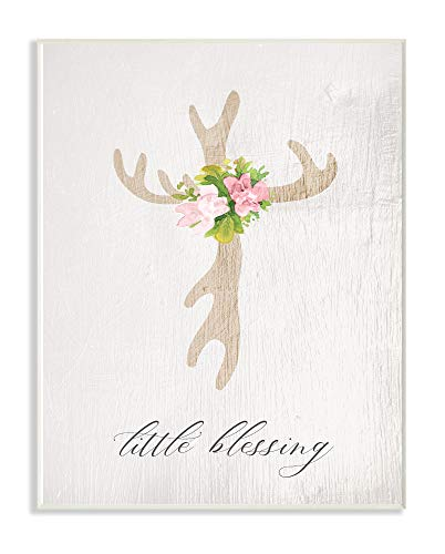 Antler Wall Plaque - The Kids Room By Stupell Floral Antler Cross Little Blessing Baby Typography Wall Plaque Art, 13 x 19, Proudly Made in USA