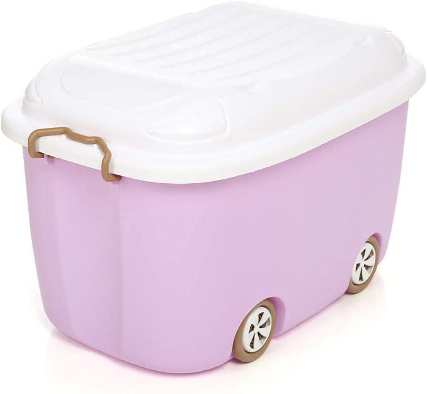 Caja de almacenamiento de juguetes en las ruedas, con tapa, ropa para niños organizador de meriendas de juguete caja de plástico para sala de estar dormitorio jardín de infantes (juego de 2),Rosado: