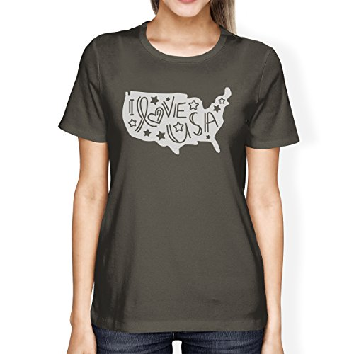Grey shirt Femme Printing Usa Manches Taille I Womens Love Shirt 365 T Unique Courtes Dark aqRpwaHxn