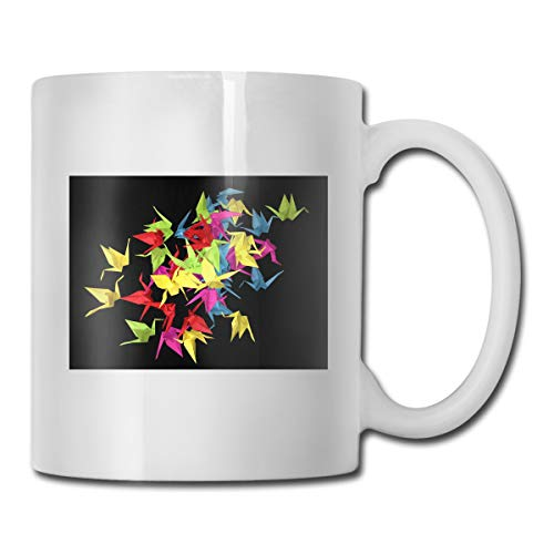 Porcelain Coffee Mug Origami Cranes Black Ceramic Cup Tea Brewing Cups for Home Office ()