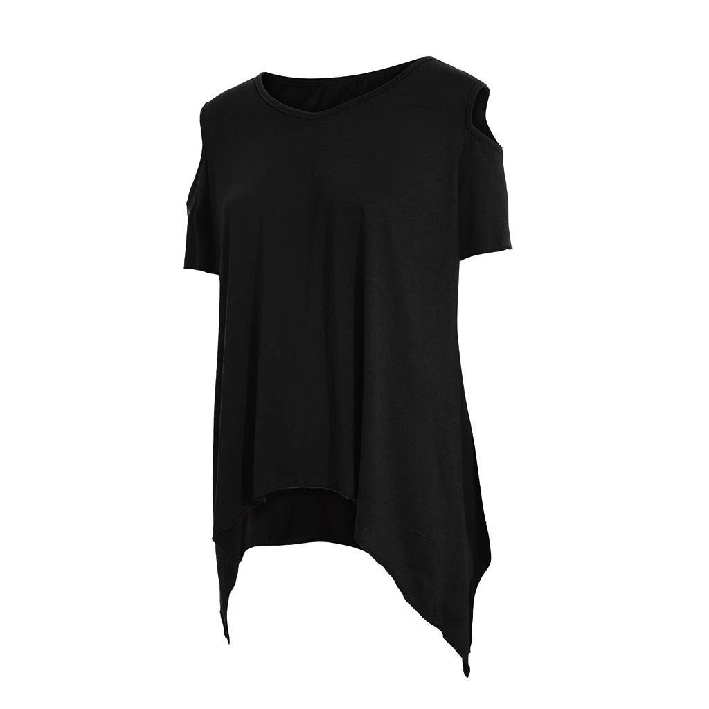 Fashion Short Sleeve Cold Shoulder Tunic Tops T-Shirts FarJing Blouse for Womens