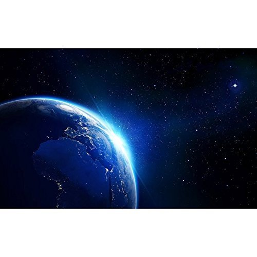 Large Wall Mural Shining Blue Earth in Universe Viewed from Outer Space Vinyl Wallpaper Removable Decorating