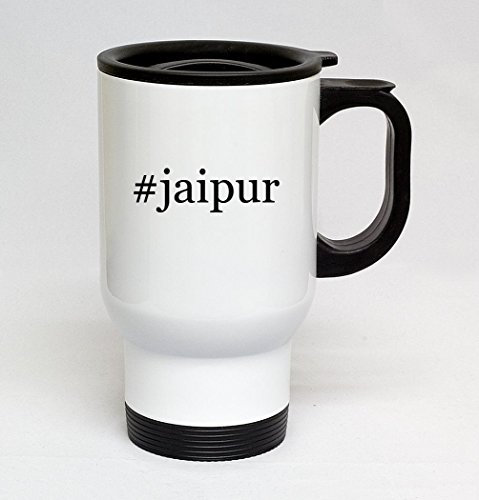 #jaipur - 14oz Sturdy Hashtag Stainless Steel Travel Mug, White