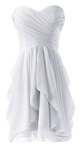 Drasawee Strapless Chiffon Short Evening Prom Party Dress Junior Homecoming Gowns White US2