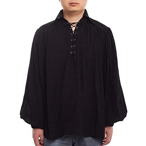 GRACEART Medieval Poet's Pirate Shirt Renaissance Costume Without Belt Black L -