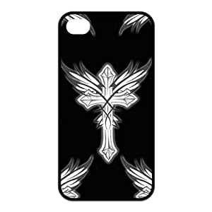 Cross Pattern TPU Snap On Case Cover For Iphone 4 4s-Black/White