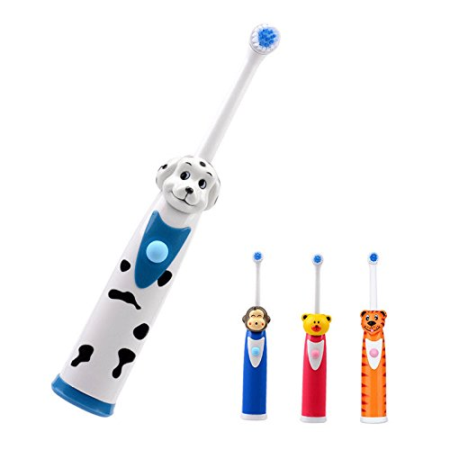 Electric Toothbrush for Children 2 Heads Battery Powered Cartoon Tooth Brush Cleaner Oral (Dog)
