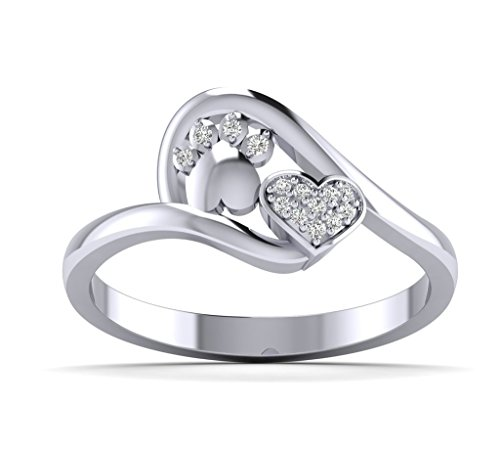 Fehu Jewel Women's 0.06ct Natural Diamond Dog Paw Print with Lovely Heart Ring Heart Ring Paw Ring