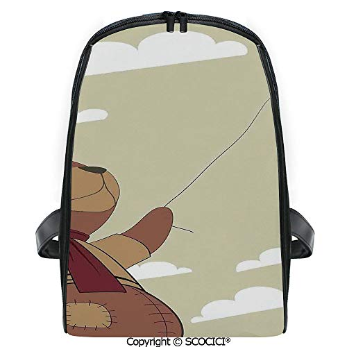 SCOCICI Students Cute Printed Bookbag A Melancholic Teddy Bear with Scarf Holding a Balloon Clouds in the Sky Clipart with Funny Personalized Graphics