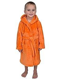 TowelSelections Little Boys' Hooded Plush Robe Soft Fleece Bathrobe Size 4 Tangerine