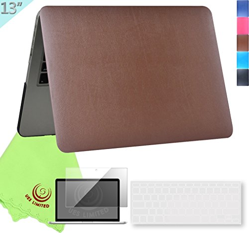 UESWILL 3in1 Supple Leather Hard Shell Case for MacBook Pro (Retina, 13-inch, Late 2012 to Early 2015), Model A1425/A1502, NO CD-ROM + Keyboard Cover and Screen Protector, Brown