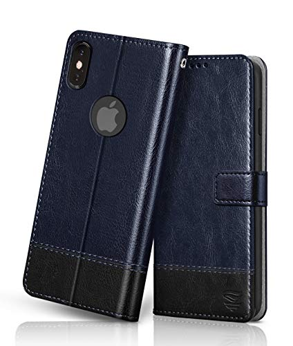 flipped vegan leather iphone x xs flip case cover | shock proof with tpu bumper & card pockets | magnetic wallet flip cover for apple iphone x/xs (hand stitched, blue with black) – Black; Blue