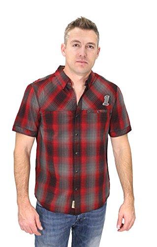 Davidson Shirt Harley Embroidered (Harley-Davidson Mens #1 Skull Snap Front Red Plaid Short Sleeve Woven Shirt 99057-16VM (2XL))