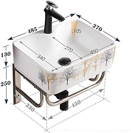セラミック洗面器 金属フレームとセラミックバスルームの洗面台モダンなデザインの壁マウント バスルームキャビネットシンク (色 : 白, Size : 40x29.5x11.5cm)