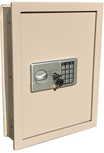 Security Wall Safe (Digital Electronic Flat Recessed Wall Hidden Safe Security Box Jewelry Gun Cash (Off White/Light Grey))