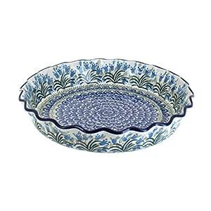Blue Rose Polish Pottery Tulip Bouquet Pie Plate