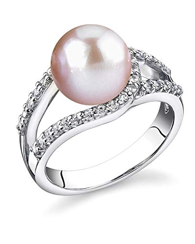 (THE PEARL SOURCE 9-10mm Genuine Pink Freshwater Cultured Pearl Tessa Ring for Women)