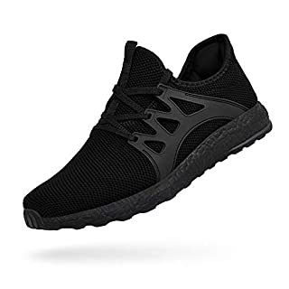 MARSVOVO Mens Running Shoes Non Slip Restaurant Kitchen Workout Ultra Lightweight Sneakers Breathable Air Knitted Mesh Casual Work Fashion Tennis Athletic Gym Sports Walking Shoes Black Size 10.5