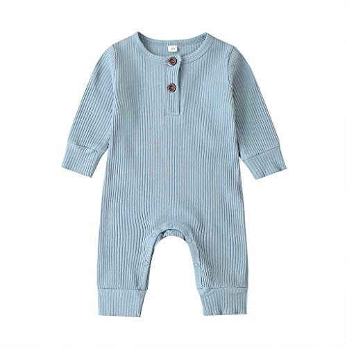 ribbed onesie 3-6 months baby girl boy winter fall clothes basic plain long sleeve unisex neutral blue cotton outfits blue