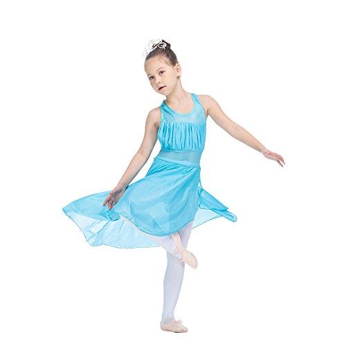 Dance Leotard Halter (HDW DANCE Girls Kids Leotard Dress Modern Dance Standard Nylon/Lycra Mesh Halter Lyrical (L-CL, Light River Blue))