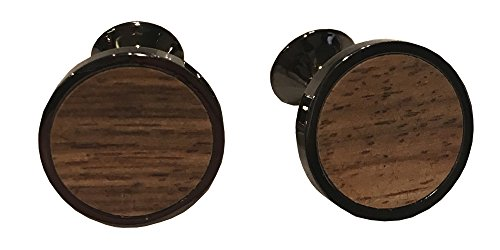 (D&L Menswear Black Rhodium Plated Wood Inlay Round Cufflinks With Black Gift Box)
