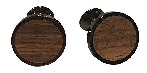 D&L Menswear Black Rhodium Plated Wood Inlay Round Cufflinks With Black Gift Box