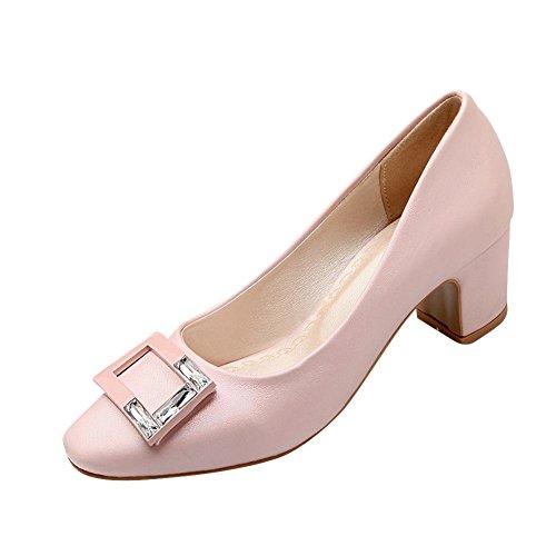 Heel Elegant Rhinestones Shoes Carolbar Pink Mid Color Women's Solid Court wtIIq1YSx