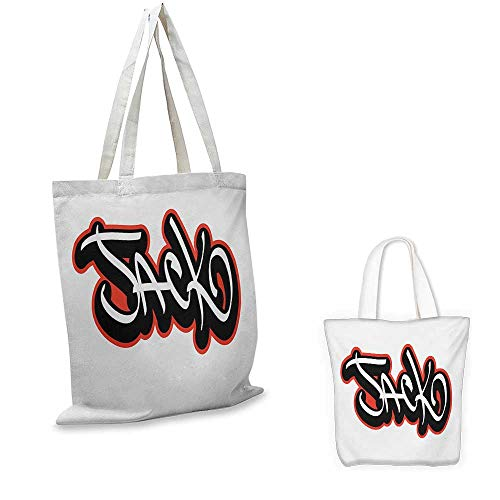 Jack,Shopping Handbag Graffiti Font Style Male Name Hip-hop Design Urban Modern Typography Craft & gift bag Vermilion Black and White 16.5