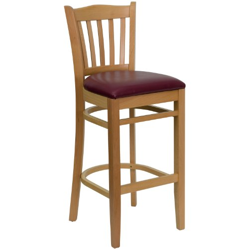 MFO Natural Wood Finished Vertical Slat Back Wooden Restaurant Bar Stool - Burgundy Vinyl Seat