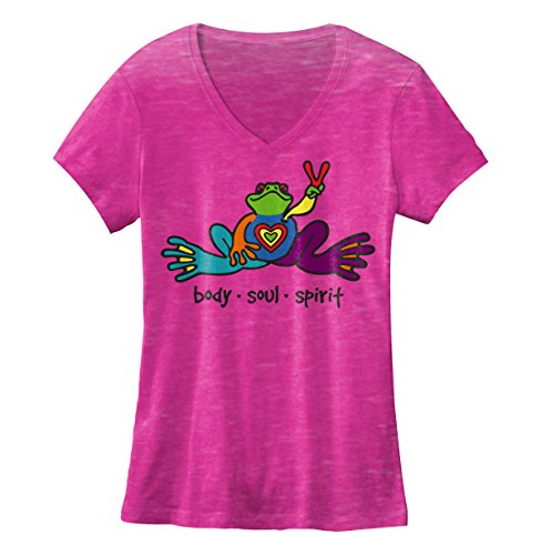 peace-frogs-heart-frog-ladies-v-neck-burnout-licensed-t-shirt-medium