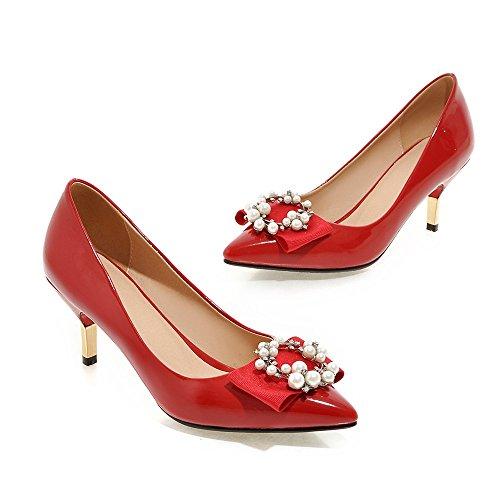 MINIVOG MINIVOG Womens High Red Womens Pump Shoes Heels Pearls Bows q445pd