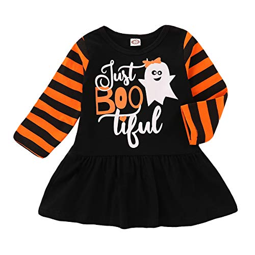 Halloween Infant Baby Girls Long Sleeve Just Boo Tiful Ghost Cartoon Party Dress Clothes Outfits Set (Black, 6-12 -