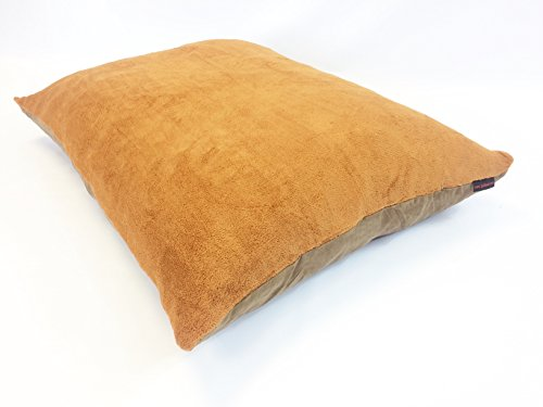 36″x29″ Medium Size MicroCushion High Density Memory Foam PolyFiber Waterproof Pet Pillow Bed with Removable Zippered Soft Fleece Sudan Brown / Brown Suede Cover for Small to Medium Dogs