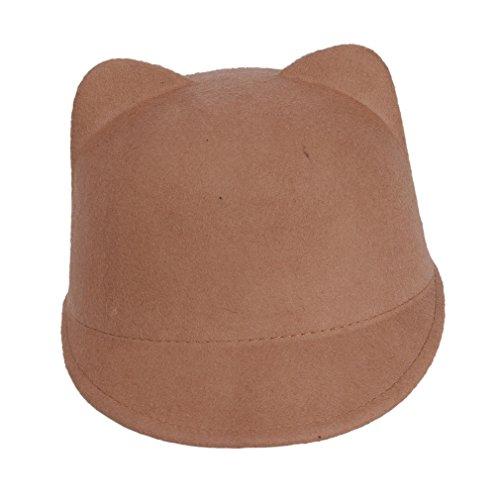 [Elee Kids Girls Bowler Hat Cat Ears Derby Cute Devil Horns Caps (Camel )] (Cute Devil Costumes Girls)