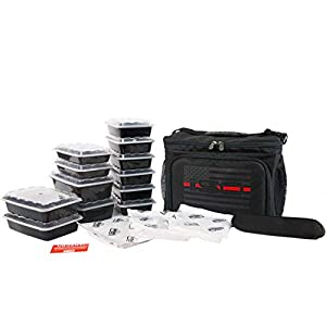 Isolator Fitness 6 Meal ISOCUBE Meal Prep Management Insulated Lunch Bag Cooler with 12 Stackable Meal Prep Containers, 3 ISOBRICKS, and Shoulder Strap – MADE IN USA (Thin Red Line)