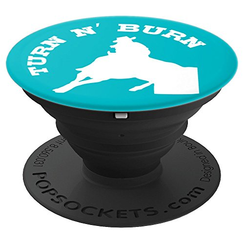Burn Horse Race Cowgirl Racer Turquoise - PopSockets Grip and Stand for Phones and Tablets ()
