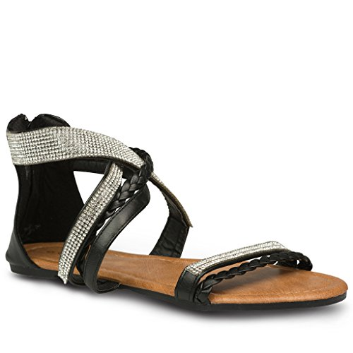 2aef0fc74 Twisted Women s Daisy Faux Leather T-strap Sandal with Rhinestone Accents -  BLACK