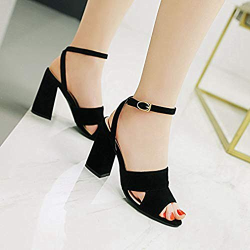 Pump Sandals Ankle Heeled Strap Peep T Women Slide Evening Suede Wedding JULY Dress Party Toe for Roman Black Chunky qwTxFCz