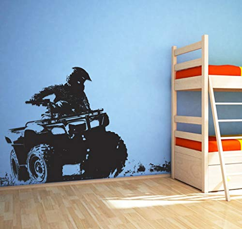 Quad Bike Wall Decal 4 Wheeler Sticker ATV Quad Bike Wall Decor Off Road Quad Bike Kids Room Decor Art All-Terrain Decal and Stick Wall Decals