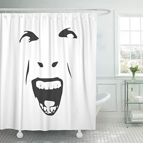 Emvency Fabric Shower Curtain with Hooks Demonic Ugly