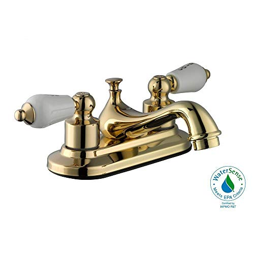 Glacier Bay Teapot 4 in. Centerset 2-Handle Low-Arc Bathroom Faucet in Polished Brass
