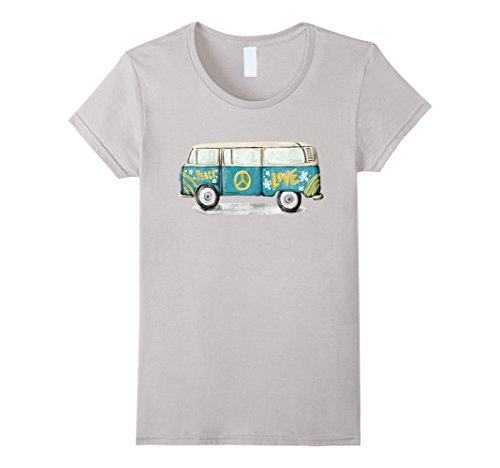 Womens Vintage Hippie Bus T-Shirt - Peace & Love of the 60s 70s Medium Silver (1960s Hippie Fashion)