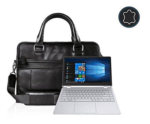 reboon Echt-Leder Laptop-Tasche in Schwarz Leder für TREKSTOR PRIMEBOOK C13 LTE 13 3 | 13 Zoll | Notebooktasche Umhängetasche | Damen/Herren - Unisex | Premium Qualität Schwarz Leder gYW1xe