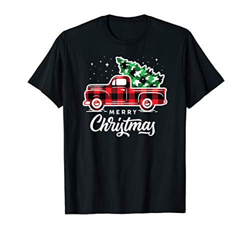 Vintage Style Farm Red Truck with Christmas Tree T-Shirt (Christmas Style Country Trees)
