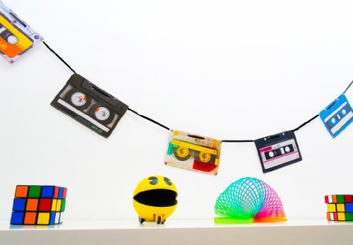 80s Party Decorations - Retro Cassette Tape Bunting by 80s Material Girl by 80s Material Girl