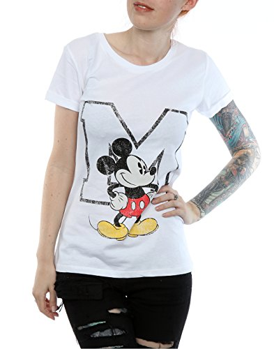 Maniche Donna T Shirt Mouse Mickey Arrotolate Classic M Bianca Disney 71wXWqdX